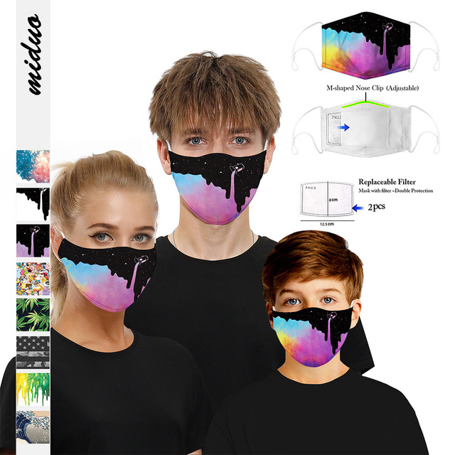 Skull Digital 3D Funny Anti Pollution PM2.5 Mask Dust Respirator Washable Reusable Masks Unisex Mouth Asthma/Travel/ Cycling 3