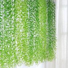 20 pçs plantas artificiais folhas de salgueiro tropical pendurado videira para diy weding decoração do jardim casa acessórios plast