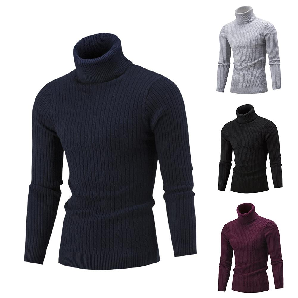 Warm Turtleneck Men Sweater In Men's Pullovers Fashion Solid Knitted Men Sweater Casual Male Slim Pullover Sweater Print Winter