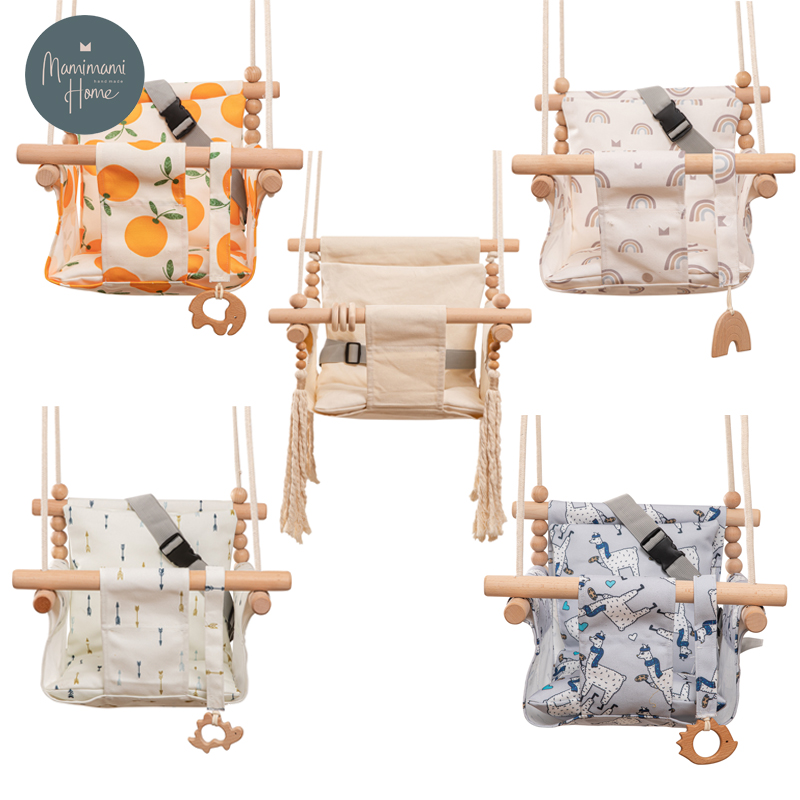 Baby Safety Swing Cartoon Canvas Chair Hanging Wood Outdoor Swinging Rocking Chair Baby Toy Room Decorations Accept Custom