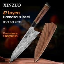 XINZUO 8,5 ''pulgadas Chef cuchillo con Caja de regalo de madera VG10 de acero de Damasco cocina cuchillo rebanador de cocinero cuchillos de cocina con G10 manejar