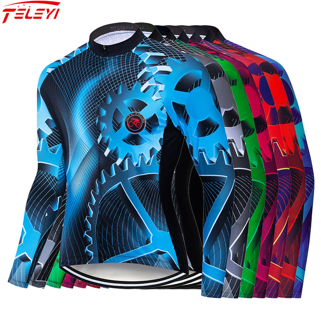 TELEYI gear Autumn Pro Men Long Sleeve Cycling Jerseys Quick-Dry MTB Bike Cycling Clothes Anti-UV Racing Road Bicycle Sportswear 1