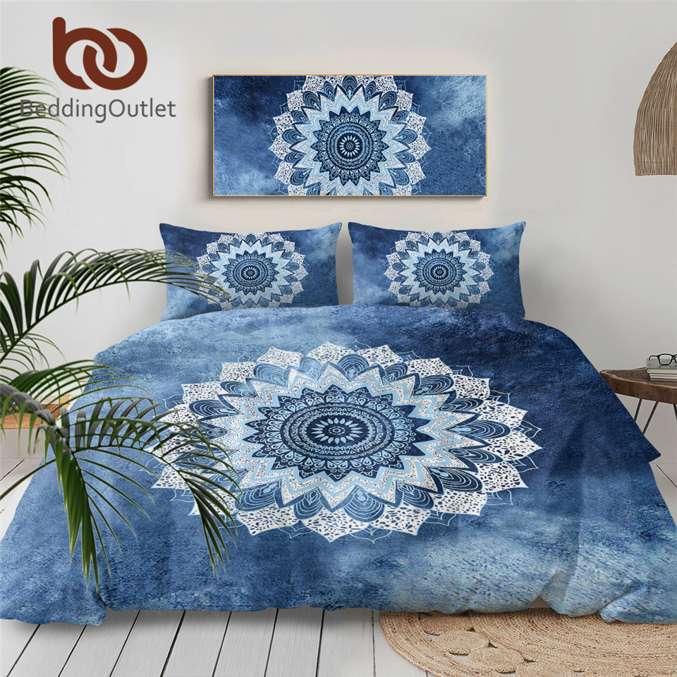 Beddingoutlet 3 Pcs Vintage Cobalt Blue Mandala Bedding Set Duvet Cover Hippie Gypsy Bohemian Mandala Floral Paisley Bedclothes Bedding Sets Duvet Bedding Setduvet Cover Aliexpress