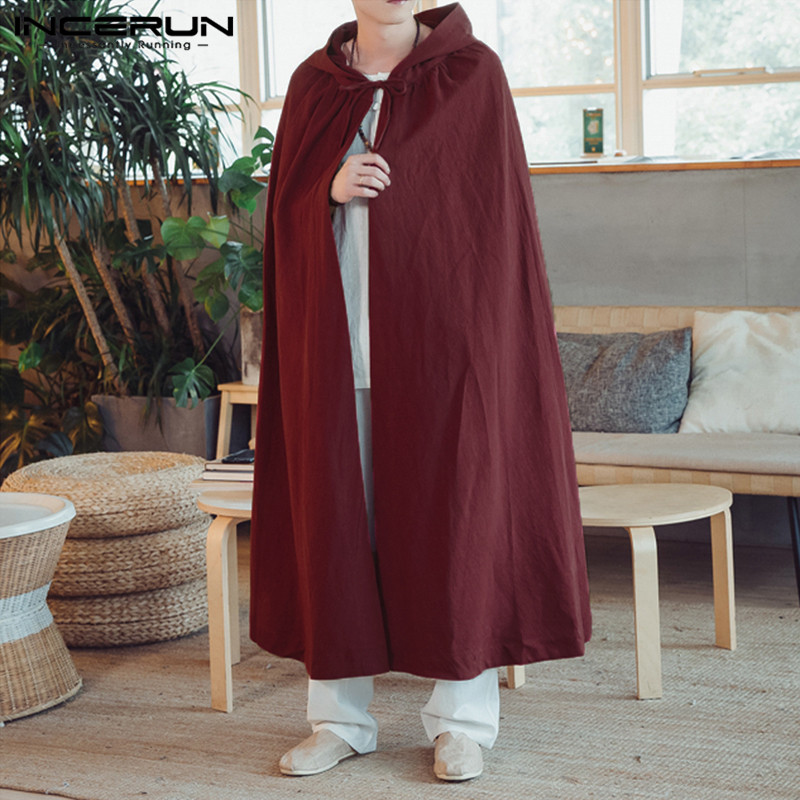 INCERUN Vintage Men Cloak Cape Long Outerwear Hooded Coat Cotton Solid Fashion Jakcets Loose Men Trench Men Cosplay Costume 2020