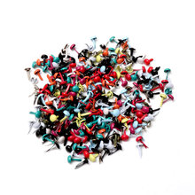 Mixed Pastel Round Brads Scrapbooking Embellishment Fastener Brads Metal Crafts For Diy shoes Decoration Spikes 5X10mm 100PCs