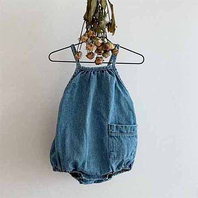 EnkeliBB Baby Unisex Denim Sling Overalls Cute Baby Boy Casual Clothes For Summer Infant ShortDungaree Korean Japan Style Bebe