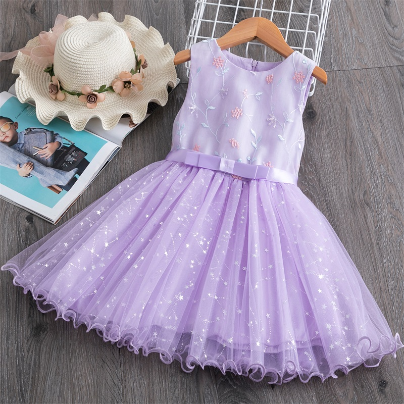 Appliques Flower Girls Summer Dress Baby Girl Birthday tutu Gown Children Party Kids Clothes Toddler Girls Casual Wear Size 3-8Y 1