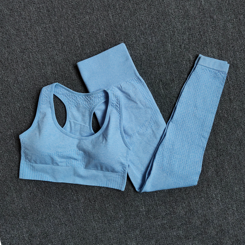BraPantsBlue - Women Seamless Yoga Set Fitness Sports Suits