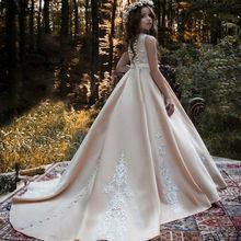 Кружевное платье без рукавов с аппликацией в виде цветка для девочек атласное платье принцессы на свадьбу, день рождения, вечеринку для девочек, Пышное Платье для причастия