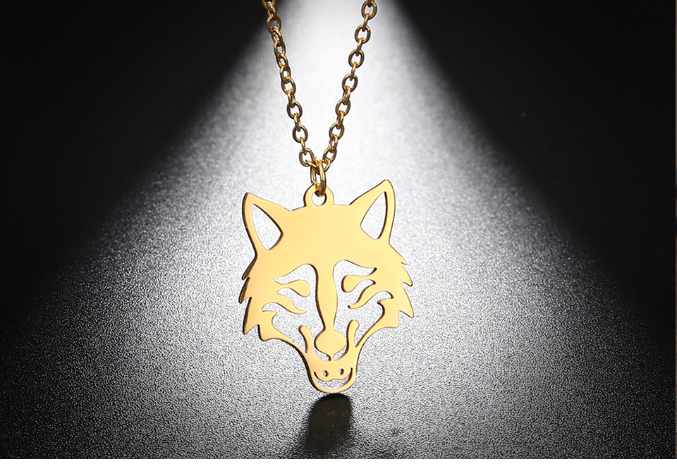 Hb5bfea047cbf48edb685b2355e2943363 - My Shape Wolf Animal Necklace 316L Stainless Steel Forest Animals Men Necklace Hollow Cut Out Pendant Jewelry Gift For Women