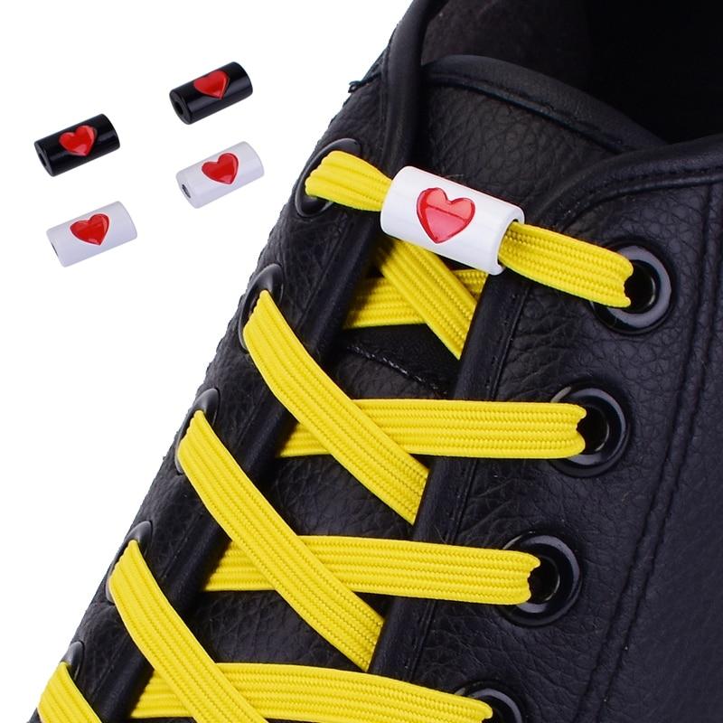 New Elastic Flats Shoelaces No Tie Shoelaces Metal Love Buckle Shoelace Kids Adult Unisex Shoelace Sneakers Shoe Laces Strings