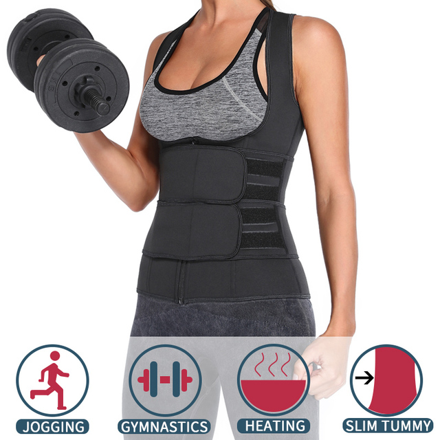 Waist Trainer Neoprene Body Shaper Women Slimming Sheath Double Belt Sweat Shapewear Fat Burning Corset Sauna Vest Trimmer Belt 2