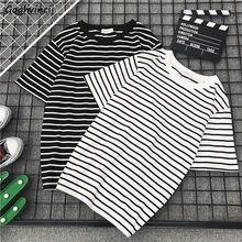 Camiseta de manga corta con cuello redondo para hombre y mujer, ropa de calle a rayas, sencilla, Ins, Harajuku, combina con todo, Chic, BF