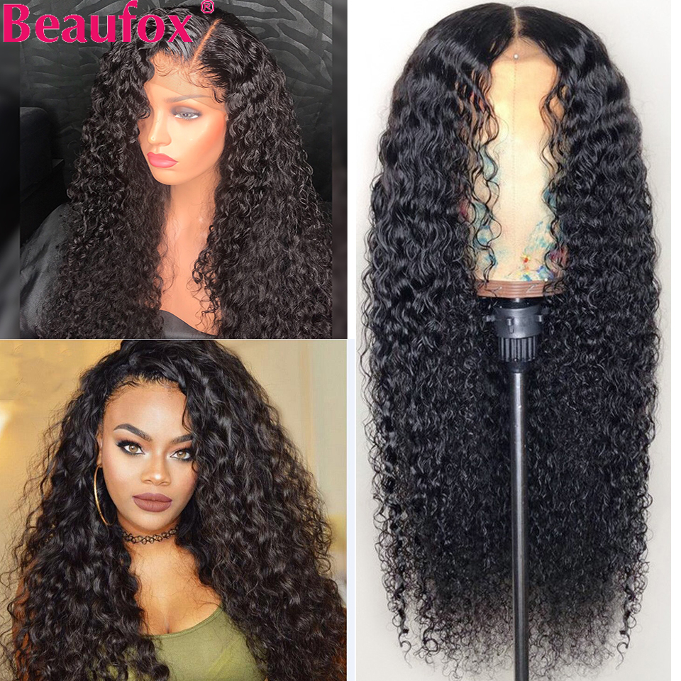 Beaufox Wigs Human-Hair-Wigs Hairline Lace-Front Water-Wave Preplucked Natural Brazilian