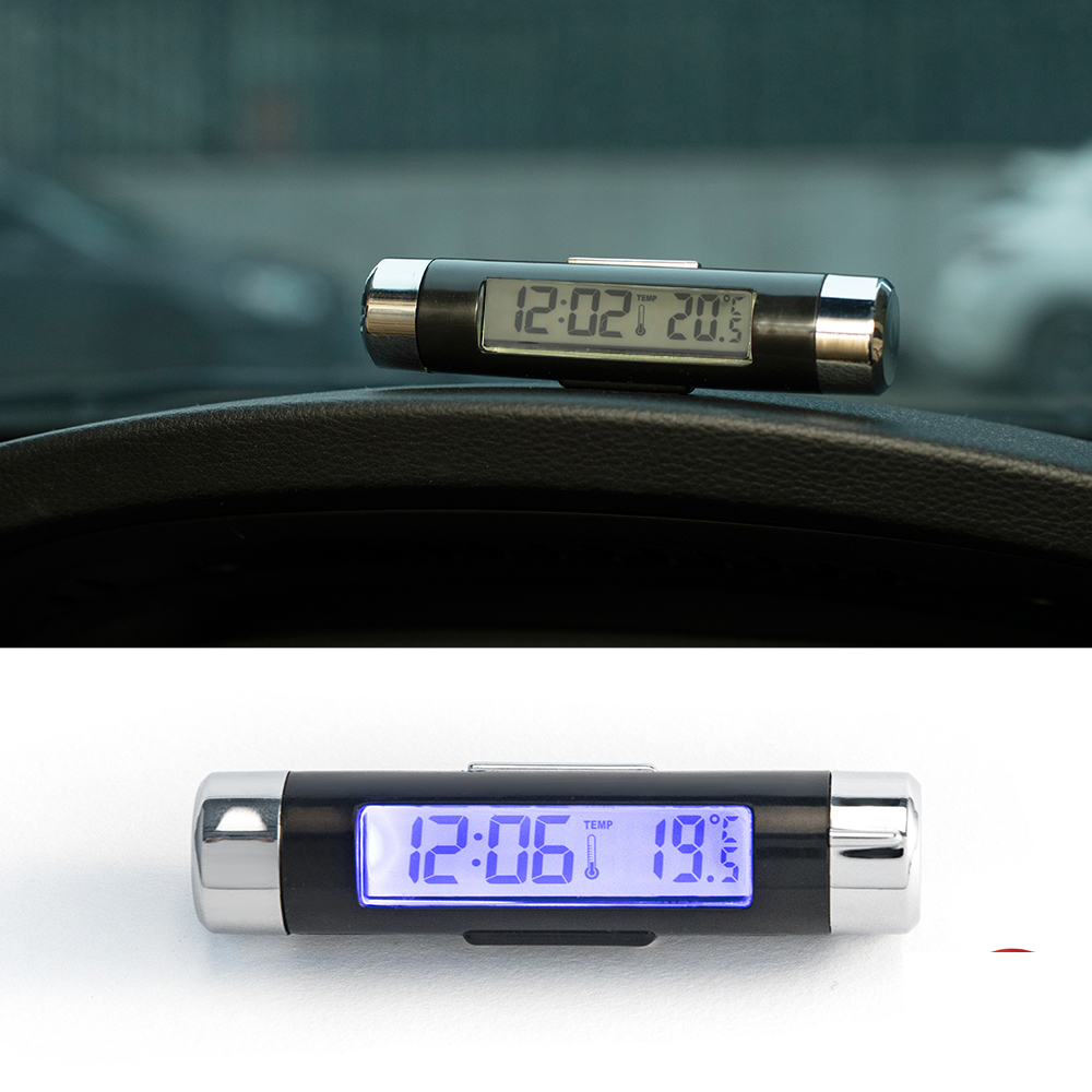 2 In 1 Air Vent Car Clock Car Thermometer LCD Digital Automotive Car Alarm Clock Blue Backlight Auto Products Car Accessories