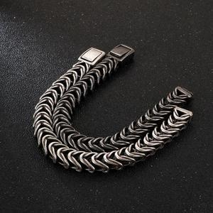 Image 4 - Fongten Vintage Black Snake Link Chain Bracelet Men Stainless Steel Punk Biker Charms Metal Heavy Bracelets Fashion Jewelry