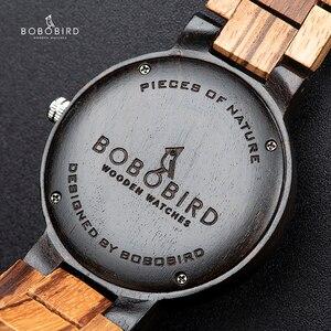 Image 5 - BOBO BIRD Men Watch Auto Date Wood Watches Men Timepieces Quartz Wrist Wristwatches relogio masculino C O26 DROP SHIPPING