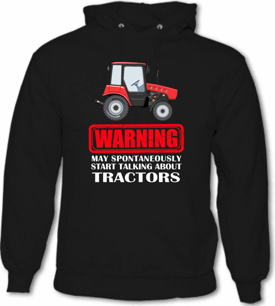 Warning May Spontaneously Start Talking About Tractors Mens Funny Farmer Hoodie