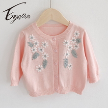 Engepapa Toddler Baby Girls Long Sleeve Cardigan Hand Embroidery Infant Baby Knitted Coat Winter Newborn Baby Girl Sweater