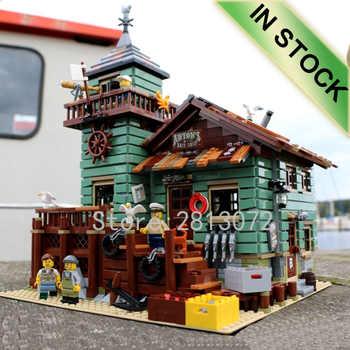 Stokta 16050 eski balıkçılık mağazası 2109 adet şehir Creator sokak görünümü MOC modeli yapı taşları ile uyumlu 21310 oyuncaklar