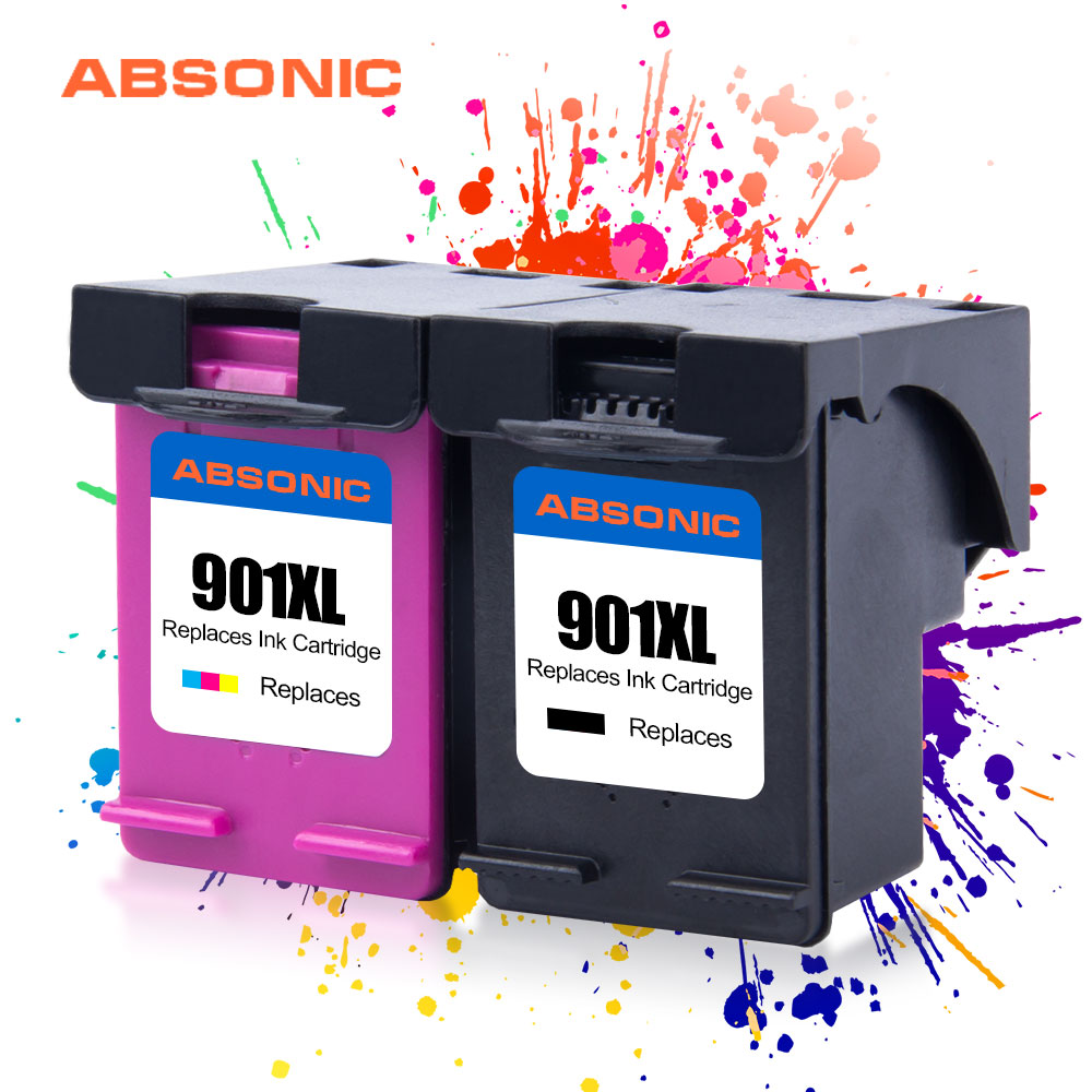 901XL Cartridge Compatible for <font><b>HP</b></font> <font><b>901</b></font> <font><b>XL</b></font> HP901 Ink Cartridge for <font><b>HP</b></font> Officejet 4500 J4500 J4540 J4550 J4580 J4680 J4680 J4524 2PK image
