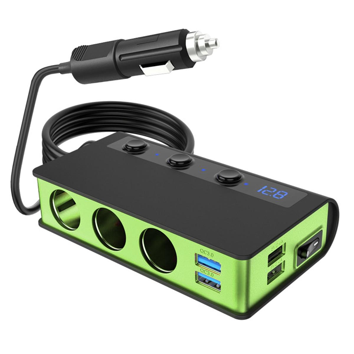 12-24V LED digital display 4 USB Car Charger 180W Cigarette Lighter Splitter with Voltmeter for cars truck SUV off-road vehicle