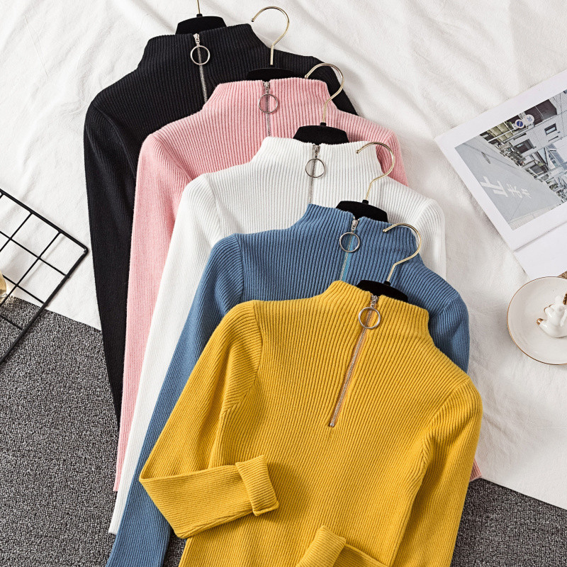 2019 Autumn Winter Women Knitted Turtleneck Pure Sweater Casual Soft Cashmere Slim-jumper Top Solid Long Sleeve Zipper Pullover