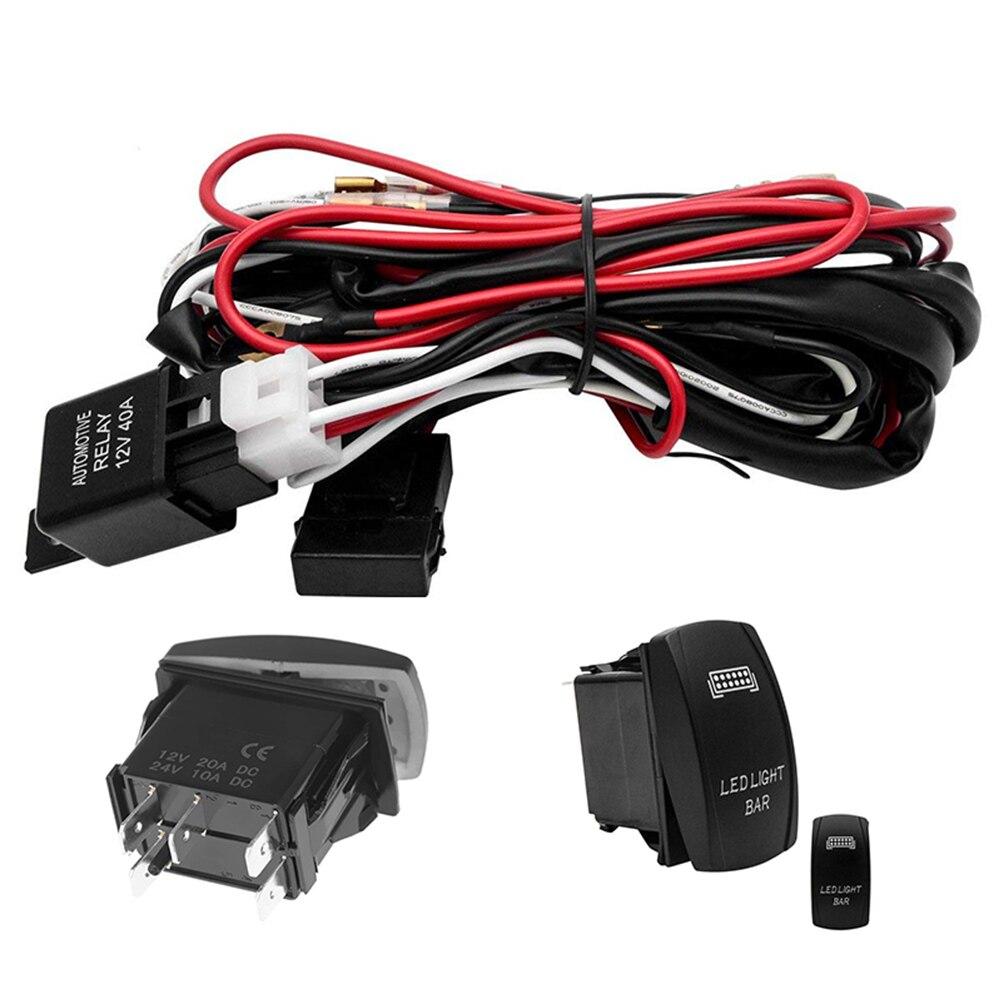 Universel 12V LED barre lumineuse de travail Laser interrupteur à bascule Kit de câblage 40A relais fusible ensemble pour voitures camion moto livraison directe