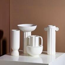Белая ваза в скандинавском стиле модель Римской колонны декоративные