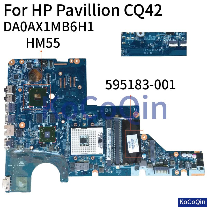 KoCoQin Laptop Motherboard For HP CQ42 G42 G62 CQ62 Mainboard  595183-001 DAOAX1MB6H1