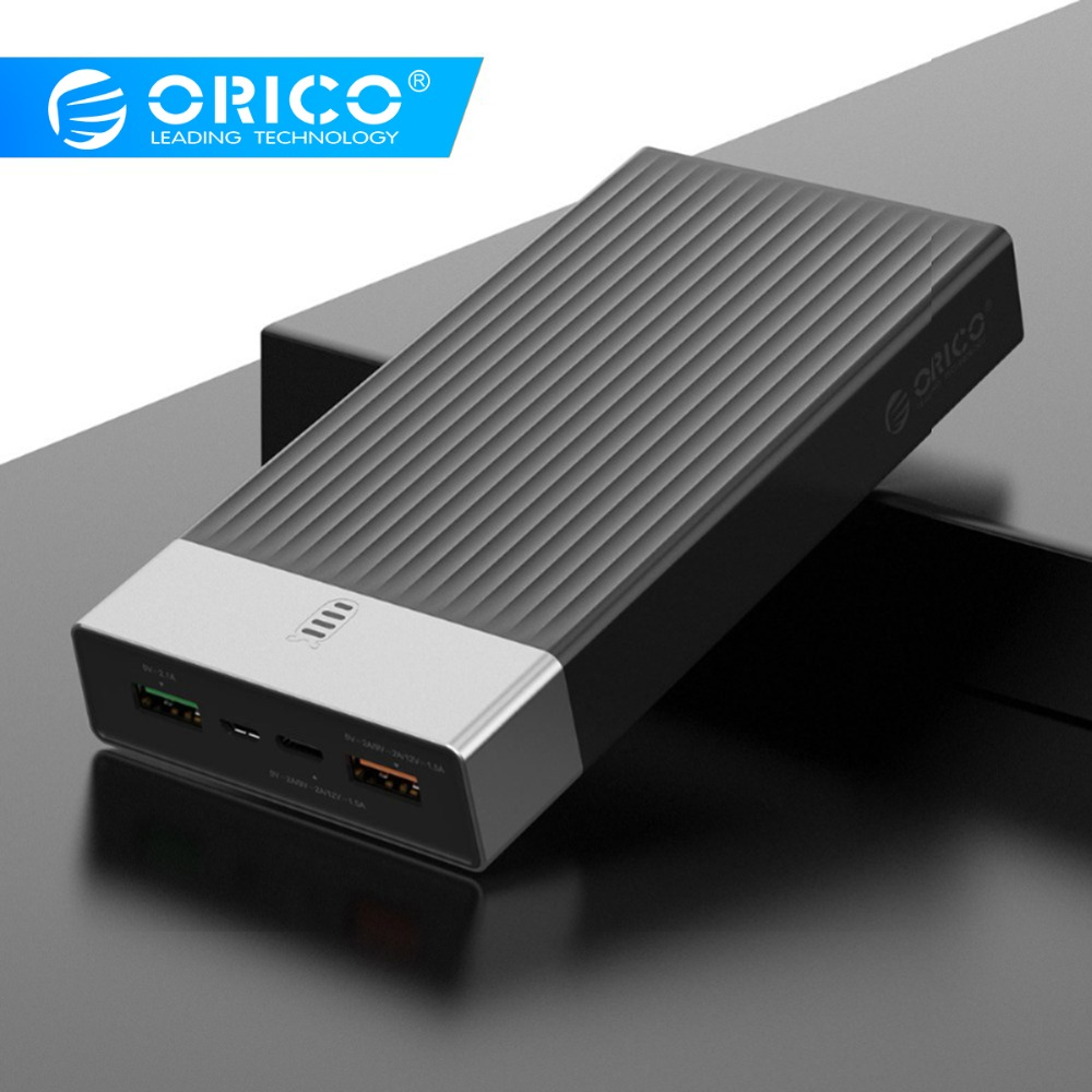 ORICO Quick Charge 3.0 Power Bank 20000mah Three Output 5V2A/9V2A/12V1.5A*1 18W Max External Battery Charge For Mobile Phone
