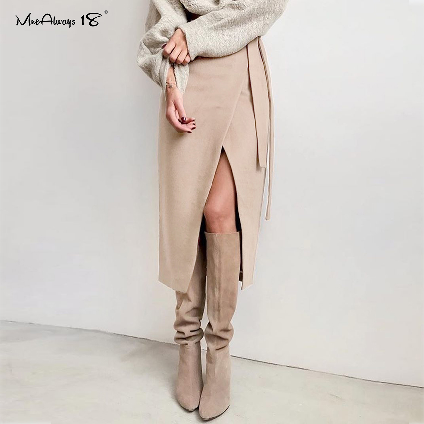 Mnealways18 Irregular Khaki Suede Women Elegant Skirts High Waist Brown Long Skirt Office Ladies Casual Wrap Skirts Lace-Up 2020