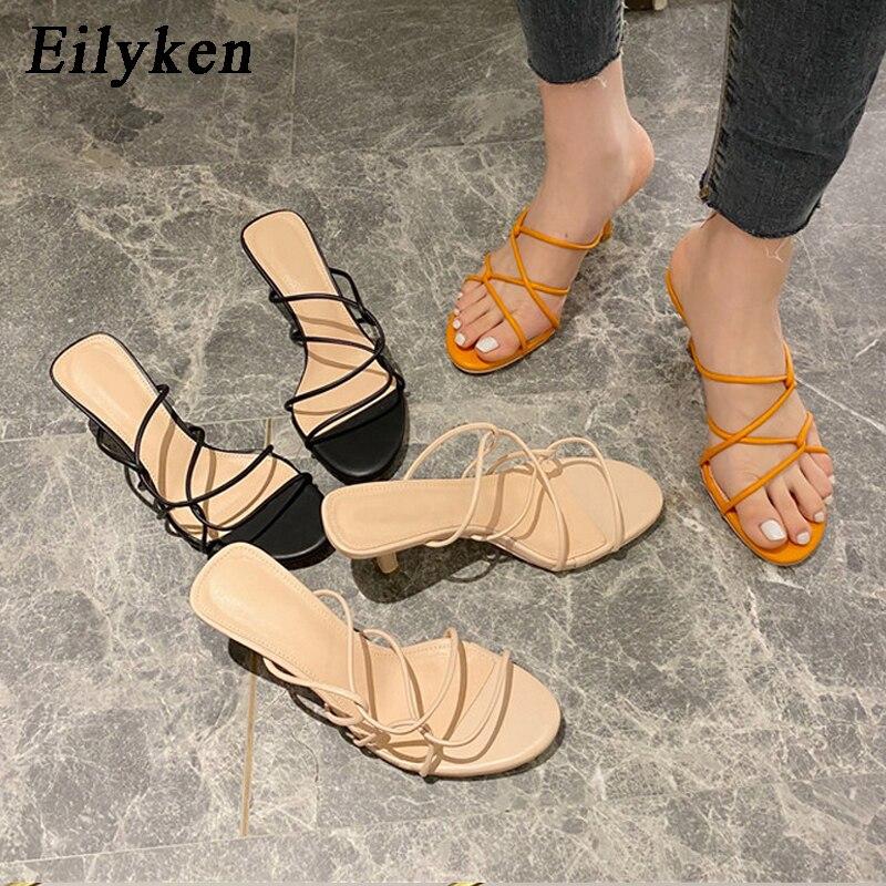 Eilyken New Brand Women Slipper High Quality Cross Strap Casual Outdoor Sandal Ladies Thin High Heels Slides Elegant Sandal