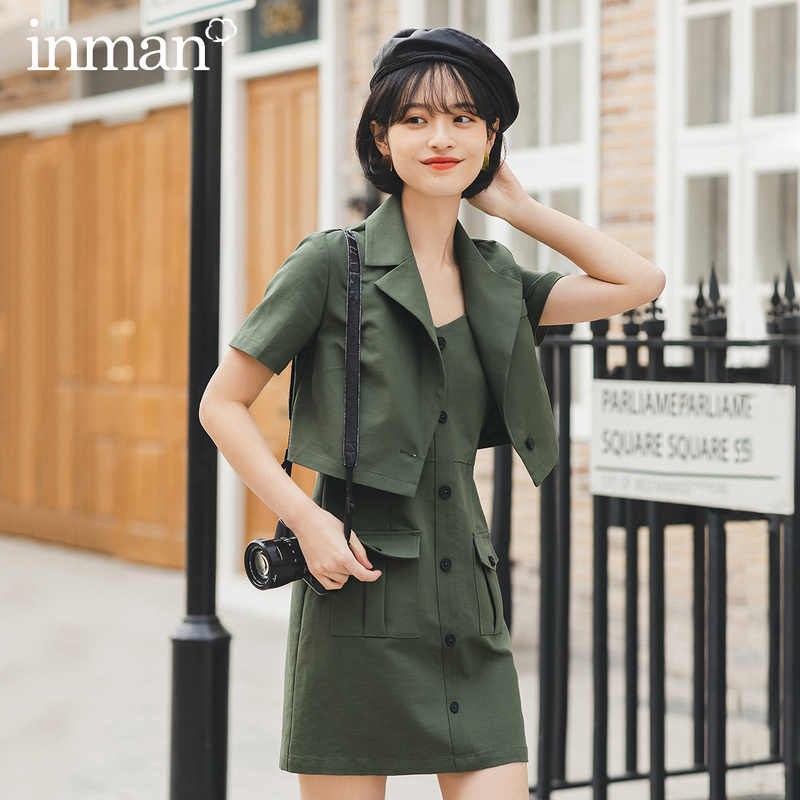 INMAN 2020 Spring New Arrival Literary Retro Lapel Pockets Dress Coat Two Pieces Suit