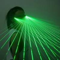 Rojo verde LED láser gafas luz baile escenario espectáculo DJ Club fiesta gafas Multi vigas para trajes luminosos LED