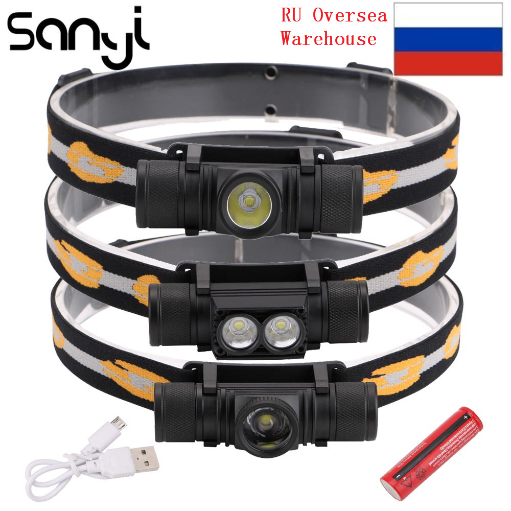 3800LM XM-L2 LED Headlamp USB Rechargeable Flashlight Power By 18650 Battery Headlight Torch Camping Light Waterproof Work Lamp