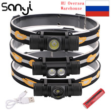 3800LM XM L2 LED Headlamp USB Rechargeable Flashlight Power by 18650 Battery Headlight Torch Camping Light Waterproof Work Lamp