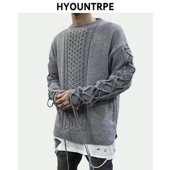 Mens Hip Hop Sweater Pullover Casual Lace Up Long Sleeve O-neck Knitted Cotton Sweater Retro High Street New Designer Sweaters