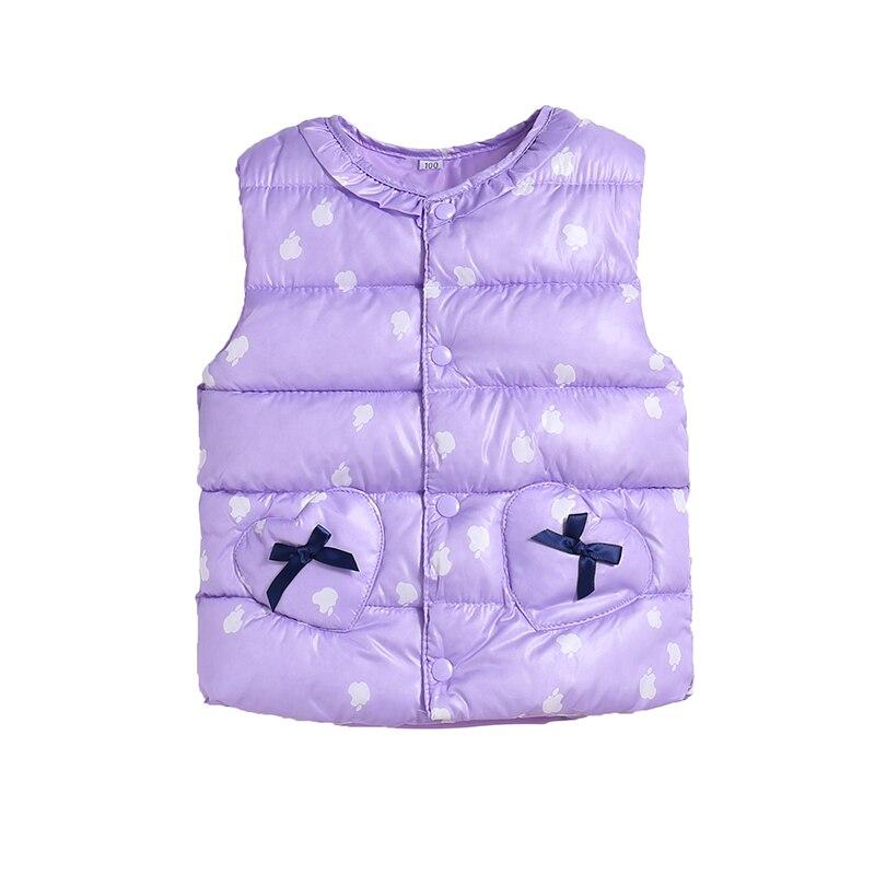 Милый жилет с хлопковой подкладкой ярких цветов для детей, зимний легкий жилет в горошек для маленьких девочек, выходящее теплое пальто для детей, топ для мальчиков - Цвет: purple