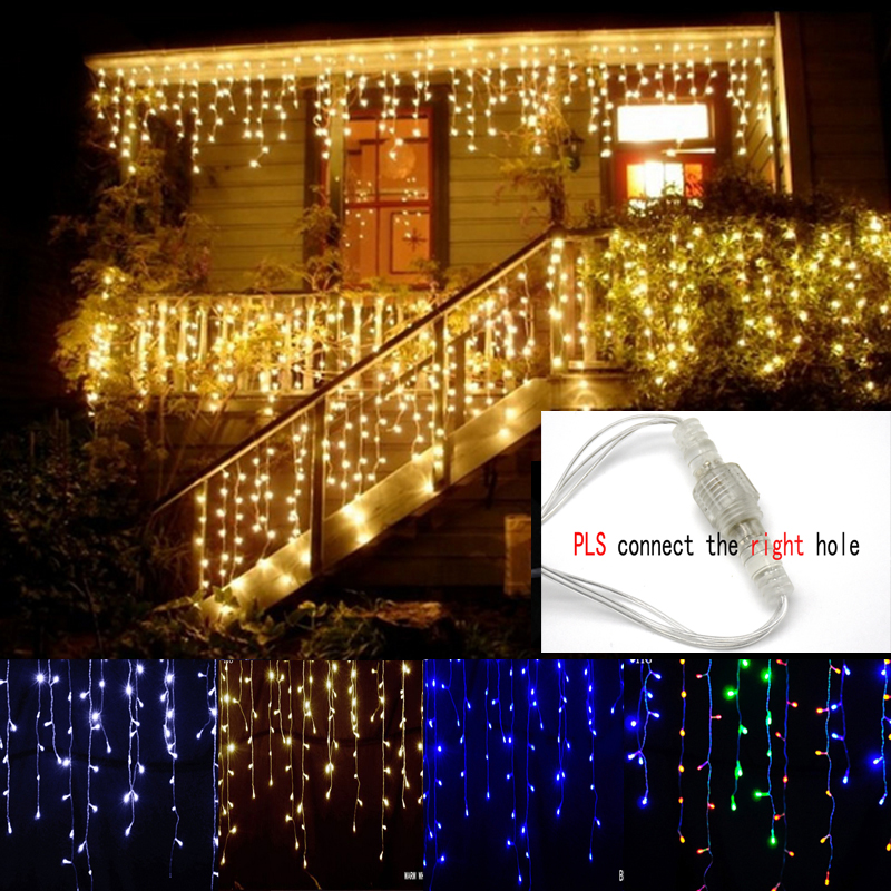 8m 48m Waterproof Outdoor Christmas Light Droop 0 4 0 6m Led Curtain Icicle String Lights Garden Mall Eaves Decorative Lights in LED String from Lights Lighting
