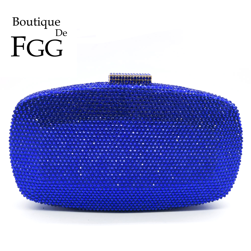 부티크 드 FGG 로얄 블루 여성 크리스탈 저녁 가방 정장 저녁 파티 칵테일 숙녀 다이아몬드 클러치 지갑 웨딩 핸드백