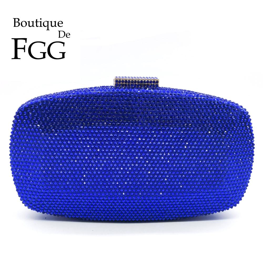 Boutique De FGG Royal Blue Women Crystal Evening Bags Formal Dinner Party Cocktail Ladies Diamond Clutch Purses Wedding Handbags