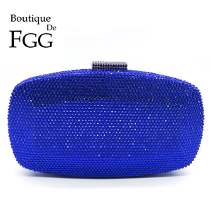 Boutique De FGG Royal Blue Women Crystal Evening Bags Formal Dinner Party Cocktail Ladies Diamond Clutch Purses Wedding Handbags