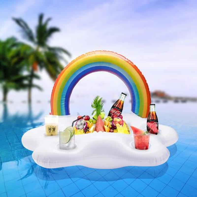 Бассейн вечерние семья вечерние наслаждаться в пляжном Стиле Радуги и облака, Кола вина пиво подушка надувная водная ледяной бар