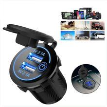 12V 24V Car Cigarette Lighter Socket Dual USB Car Charger Adapter Recessed Cigarette Lighter Battery Charging Units tanie tanio Vwinget CN (pochodzenie) 2 87cm 4 17cm
