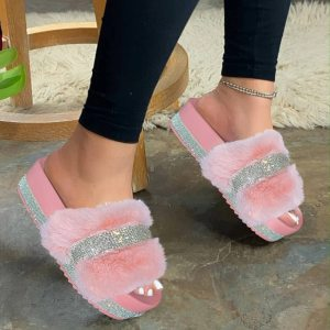 Slippers Women Fur Slippers Ladies Slides Home Fluffy Shoes Faux Flat Sandals Glitter Bling Fashion Female Casual Flip Flops2020