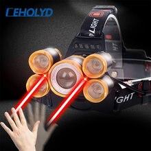 Самый мощный светодиодный налобный фонарь 5 led t6 фонарик 2x18650