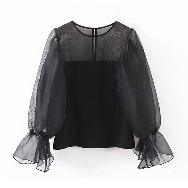Women Chic O Neck Black Organza Blouse Flare Long Sleeve Stylish Transparent Blouse Shirt Female Casual Solid Tunic Elegant Tops