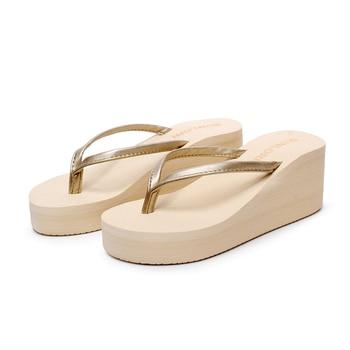 2019 Summer Women High-heeled Wedges Platform Flip Flops Drag Folder Sandals Slip-resistant Shoes