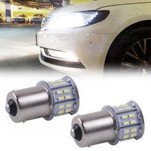 Luz trasera de señal de giro para coche, bombillas de iluminación universales de 50 SMD Bombilla LED BA15S P21W, color blanco, 2 uds., 1156, 382